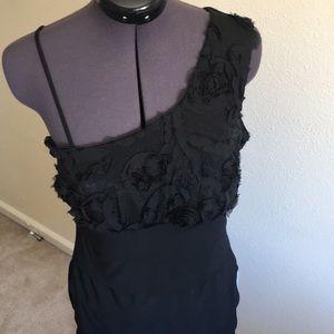 Black one shoulder cocktail dress.